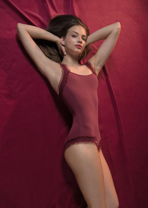ELEANOR LIGHT – leotard with straps -  red - NISARAT